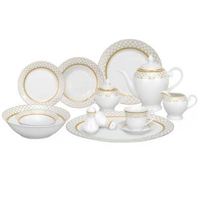 57-Piece Gold Border Porcelain Dinnerware Set