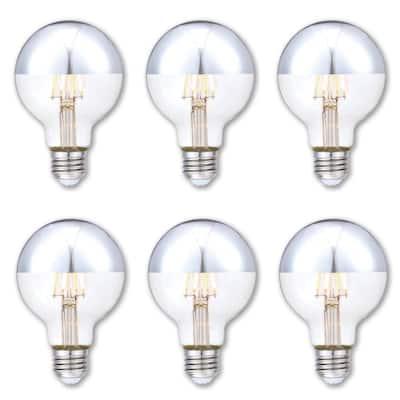 40-Watt Equivalent G25 Dimmable Half Chrome Edison Filament LED Light Bulb Soft White (6-Pack)