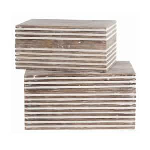 Whitewash Wooden Decorative Storage Box with Block Stripe Pattern (Set of 2)