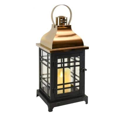 Metal Lantern with Moving Flame LED Candle - Black with Gold Roof