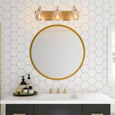 3-Light Gold Wall Sconce with Clear Glass Shades Modern Interior Bath Powder Room Bar Vanity Light