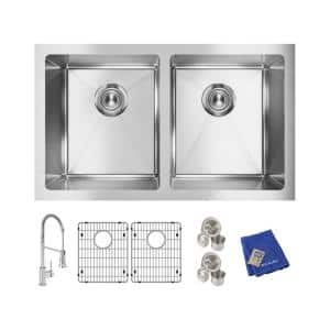 Crosstown Stainless Steel 31 in. Equal Double Bowl Undermount Kitchen Sink Kit with Faucet