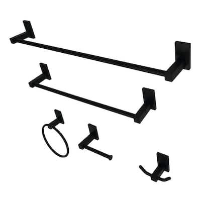 Continental 5-Piece Bathroom Accessory Set in Matte Black