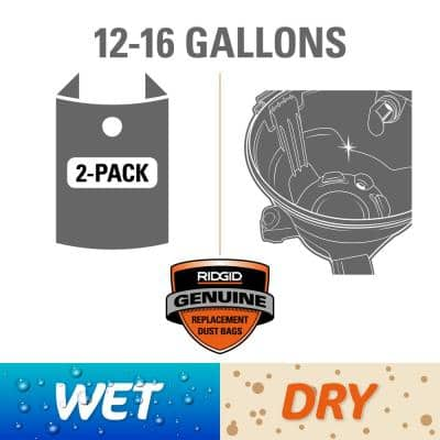 Premium Size A Wet or Dry Dust and Debris Bags for Select 12 Gal. to 16 Gal. Wet/Dry Shop Vacuums (2-Pack)