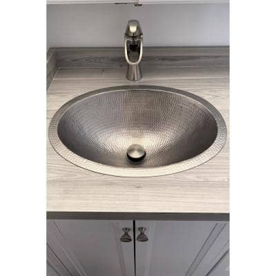Under Counter/Surface-Mount Oval Hammered Copper 19 in. 0-Hole Bathroom Sink in Nickel