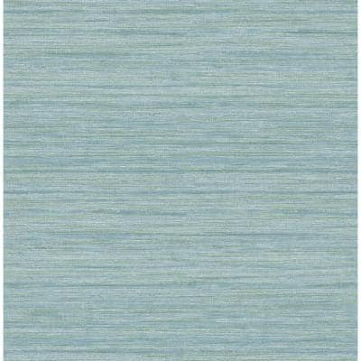 Barnaby Light Blue Faux Grasscloth Light Blue Paper Strippable Roll (Covers 56.4 sq. ft.)