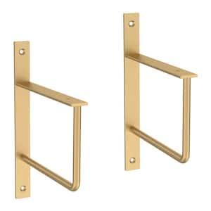 6 in. Painted Brushed Brass Steel U-Shaped Decorative Shelf Bracket (2-Pack)
