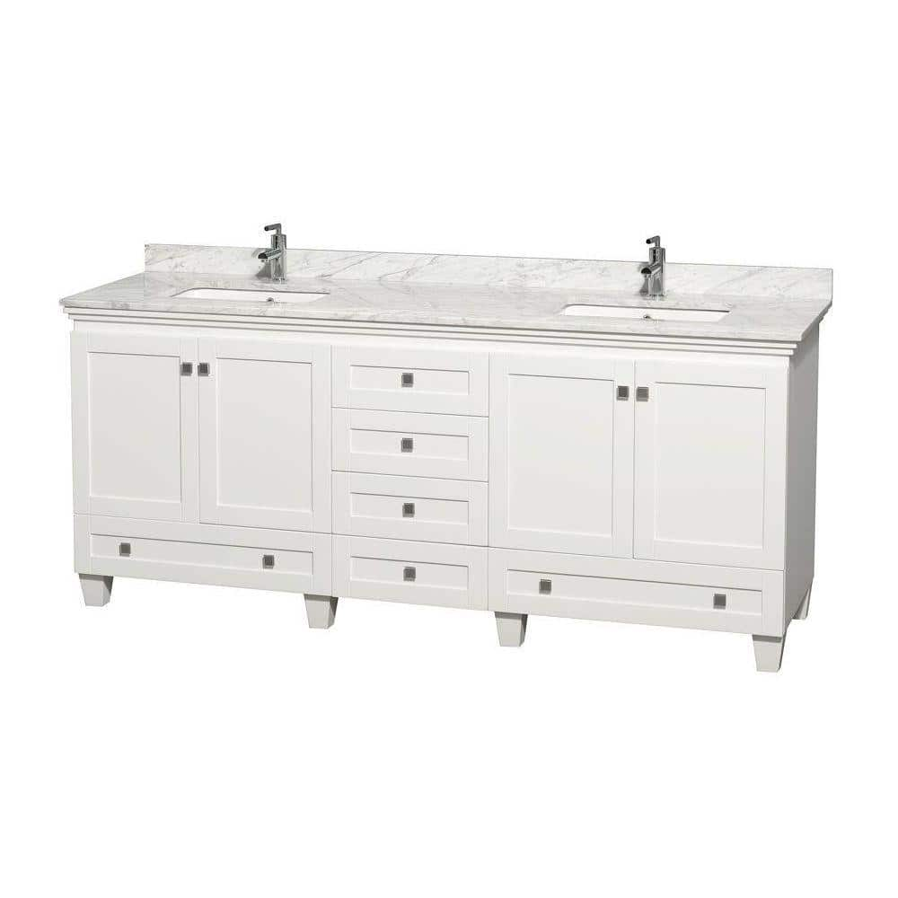 Wyndham Collection Acclaim 80 In Double Vanity In White With Marble Vanity Top In Carrara White And Square Sinks Wcv800080dwhcmunsmxx The Home Depot