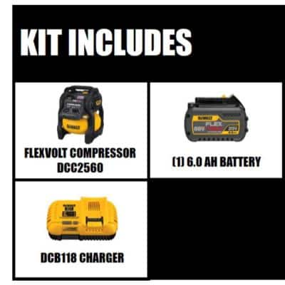 FLEXVOLT 2.5 Gal. 60-Volt MAX Brushless Cordless Electric Air Compressor Kit with Battery 2 Ah and Charger