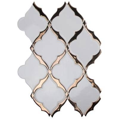Victorian Light Arabesque 14.13 in. x 10.59 in. x 8 mm Glossy Porcelain Mosaic Tile (10.4 sq. ft. / case)