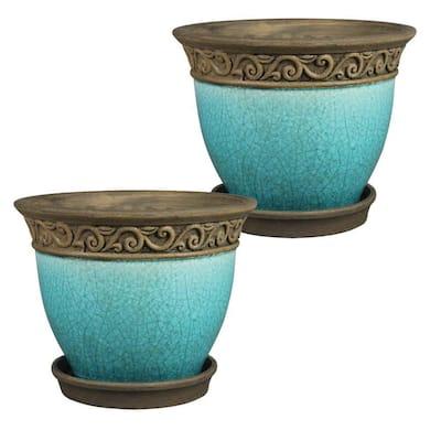 Cadiz 8 in. Dia Teal Ceramic Pot (2-Pack)