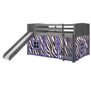 Antique Grey Twin Louver Low Loft Bed with Slide and Zebra Tent Kit