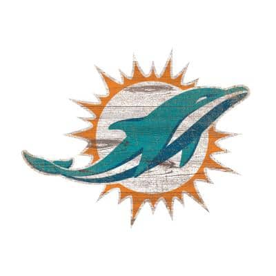 NFL Indoor Miami Dolphins Distressed Logo Cutout Wood Sign