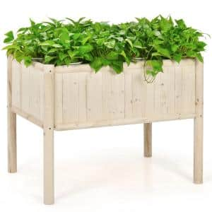 42 in. L x 30 in. W x 32 in. H Beige Wood Raised Bed Elevated