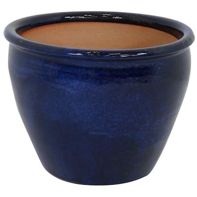 Chalet 15 in. Blue Ceramic Indoor/Outdoor Planter