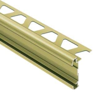 Rondec-CT Satin Brass Anodized Aluminum 3/8 in. x 8 ft. 2-1/2 in. Metal Double-Rail Bullnose Tile Edging Trim