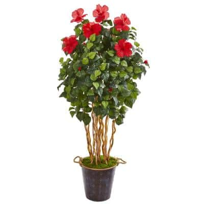62 in. Hibiscus Artificial Tree in Decorative Planter