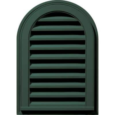 14 in. x 22 in. Round Top Plastic Built-in Screen Gable Louver Vent #028 Forest Green