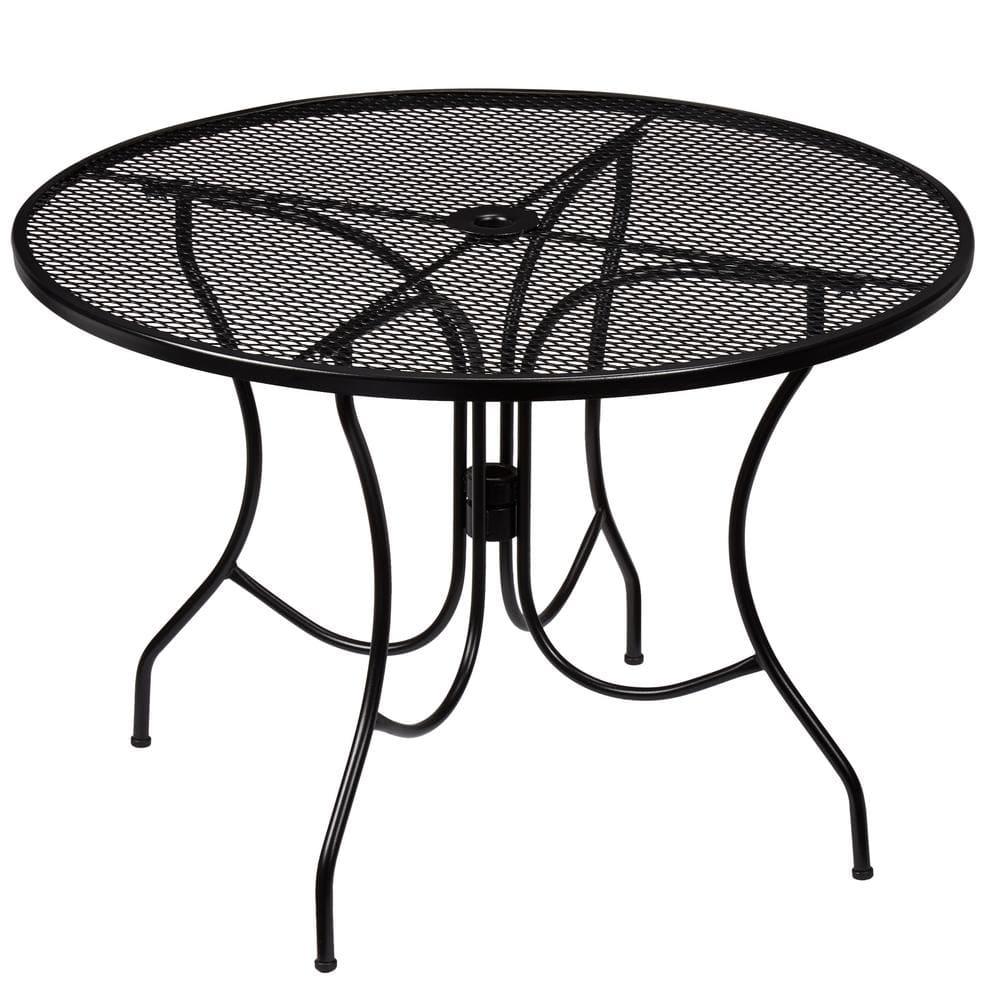Hampton Bay Nantucket Round Metal Outdoor Patio Dining Table 8243000 0105157 The Home Depot