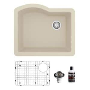 QU-671 Quartz/Granite 24 in. Single Bowl Undermount Kitchen Sink in Bisque with Bottom Grid and Strainer