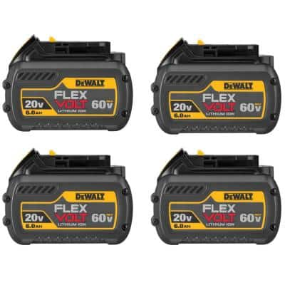FLEXVOLT 20-Volt/60-Volt MAX Lithium-Ion 6.0Ah Battery Pack (4-Pack)