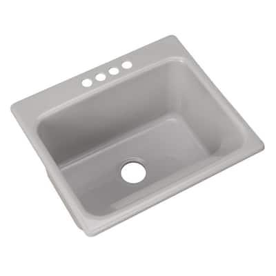 Kensington Drop-In Acrylic 25 in. 4-Hole Single Bowl Utility Sink in Ice Grey