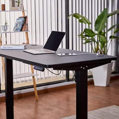 48 in. Retangular Black Standing Computer Desk with Charging Station