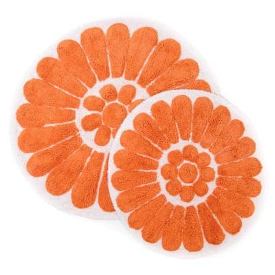 Bursting Flower 24 in. x 24 in. and 30 in. x 30 in. Round 2-Piece Bath Rug Set in White/Coral