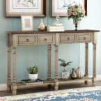 58 in. Antique Gray Standard Rectangle Wood Console Table with Drawers