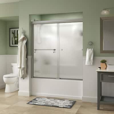 Portman 60 in. x 58-1/8 in. Semi-Frameless Traditional Sliding Bathtub Door in Nickel with Rain Glass