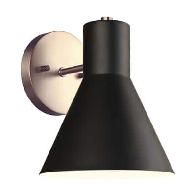 Towner 1-Light Black Shade with Satin Brass Accents Sconce