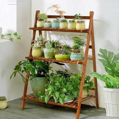27.5 in. L x 16 in. W x 38 in. H Shelves Indoor/Outdoor Brunet Folding Plant Stand (3-Tier)