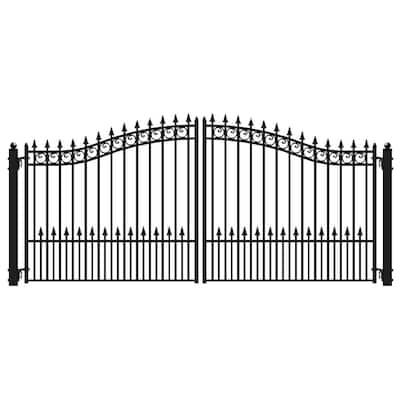 Prague Style 18 ft. x 6 ft. Black Steel Dual Driveway Fence Gate