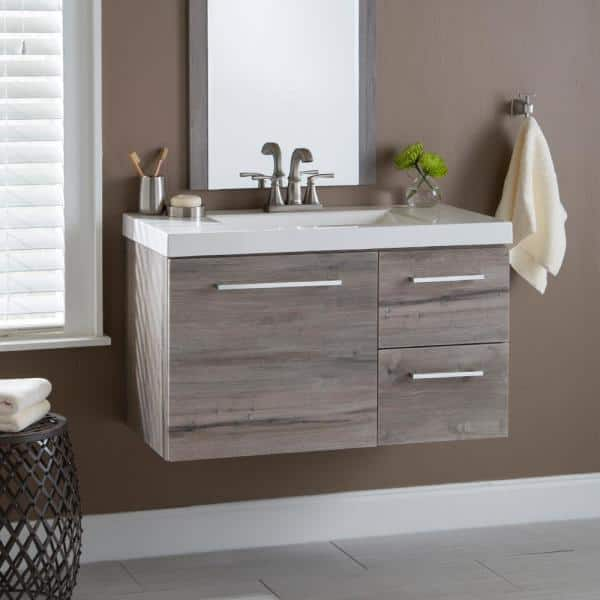 Domani 20 In W X 28 In H Framed Rectangular Bathroom Vanity Mirror In White Washed Oak Lrwm20 Wo The Home Depot