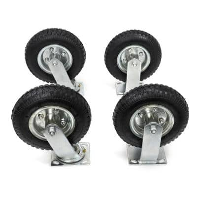 8 in. Heavy-Duty Pneumatic Caster Wheel Tire Set with 300 lbs. Load Rating (Set of 4)