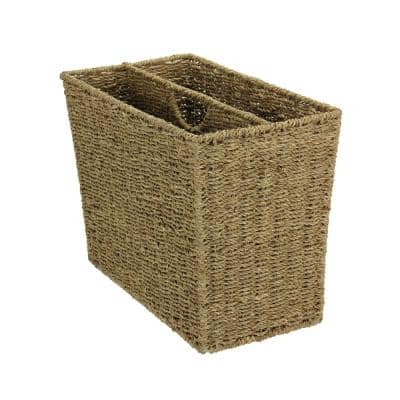 Natural Seagrass Freestanding Side by Side Magazine Rack