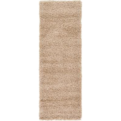 Solid Shag Taupe 6 ft. Runner Rug