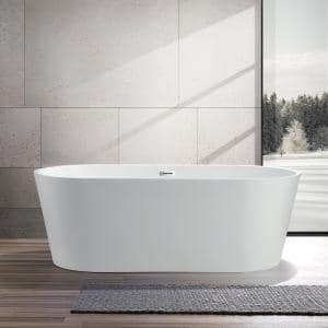 Bordeaux 59 in. Acrylic Flatbottom Freestanding Bathtub in White