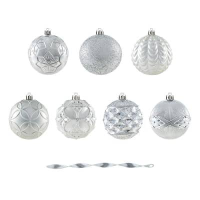 Holiday Traditions 3.15 in. Silver Shatterproof Ornaments (60-Count)