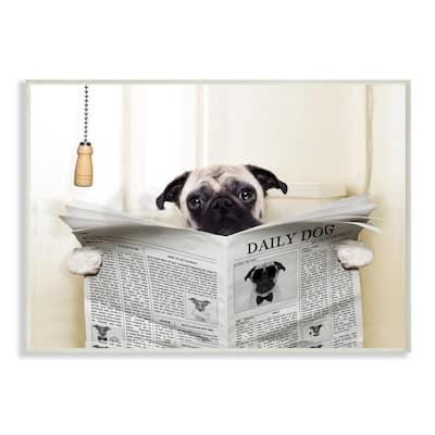 "10 in. x 15 in. ""Pug Reading Newspaper in Bathroom"" by In House Artist Printed Wood Wall Art"