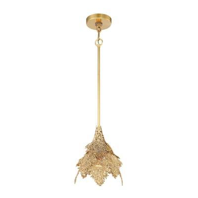 Evergold 1-Light India Gold Leaf Artistic Mini Pendant with Vintage Brass Casting