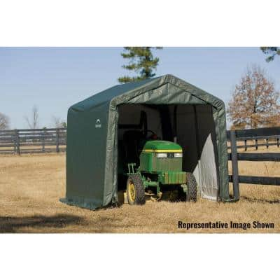 10 ft. W x 12 ft. D x 8 ft. H Green Steel and Polyethylene Garage Without Floor w/ Corrosion-Resistant Steel Frame