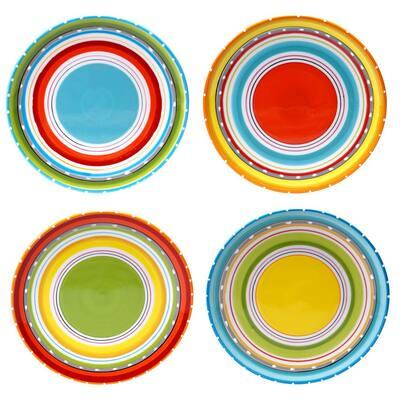 Mariachi Multi-Colored 6 in. Canape Plate Set (Set of 4)