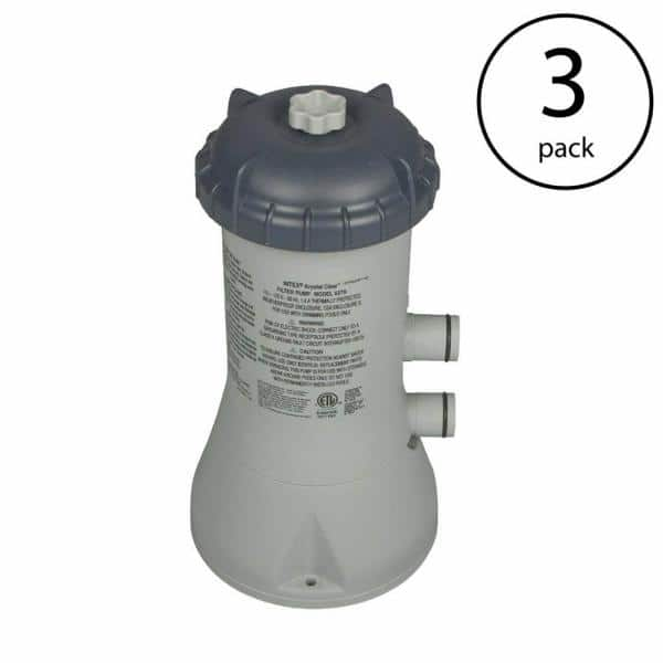 Intex 1000 Gph 1 Hp Easy Set Above Ground Pool Cartridge Filter Pump System 3 Pack 3 X 28637eg The Home Depot