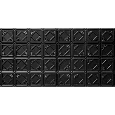 2 ft. x 4 ft. Tin Style Ceiling and Wall Tiles in Black