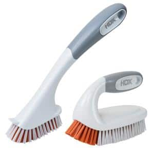 Iron Handle Scrub Brush with Tile and Grout Brush Combo Pack