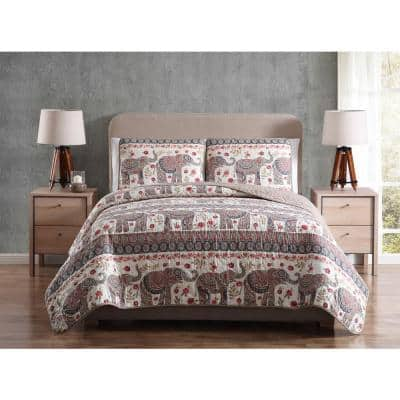 Mhf Home Elephant Full/Queen Print Quilt Set