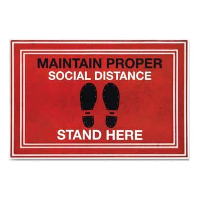 """Message Red/Black 24 in. x 36 in. """"Maintain Social Distance Stand Here"""" Commercial Floor Mat"""