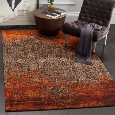 Classic Vintage Rust/Brown 9 ft. x 12 ft. Floral Area Rug