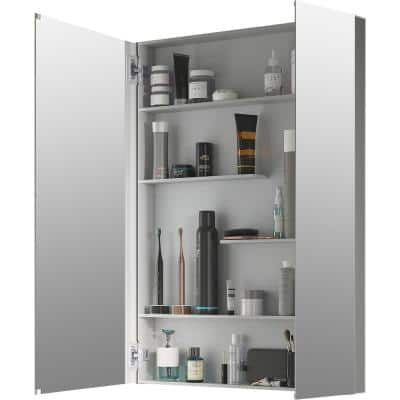Maxstow 30 in. x 40 in. Aluminum Frameless Surface-Mount Soft Close Medicine Cabinet with Mirror